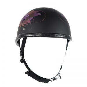 Flat Black Motorcycle Novelty Helmet With Fairy Design