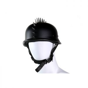 German Flat Black Novelty Motorcycle Helmet With Spikes