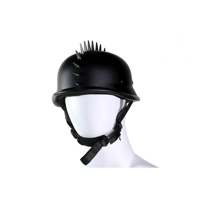German Flat Black Novelty Motorcycle Helmet With Spikes