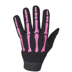 Ladies Pink Mechanic Skeleton Gloves