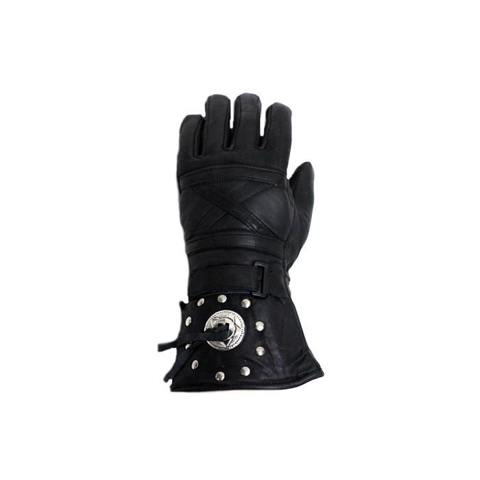 Leather Motorcycle Gauntlet Gloves With Concho