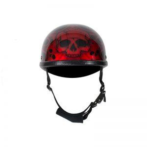 Shiny Burgundy Motorcycle Novelty Helmet With Burning Skull