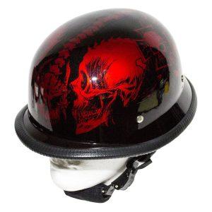 Burgundy Novelty Helmet with Horned Skeletons