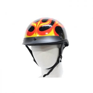200 DOT Motorcycle Helmet With Flame Graphic