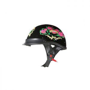 DOT Approved Black Rose Motorcycle Helmet