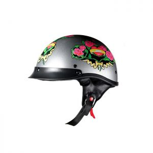 DOT Approved Silver Rose Motorcycle Helmet