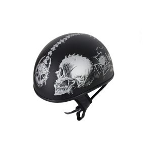 Flat Black DOT Helmet with Grey Horned Skeletons