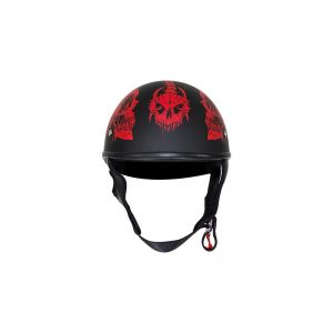 Flat Black DOT Helmet with Red Horned Skeletons