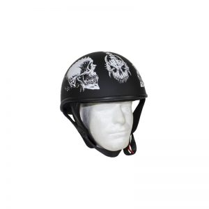 Flat Black DOT Helmet with White Horned Skeletons