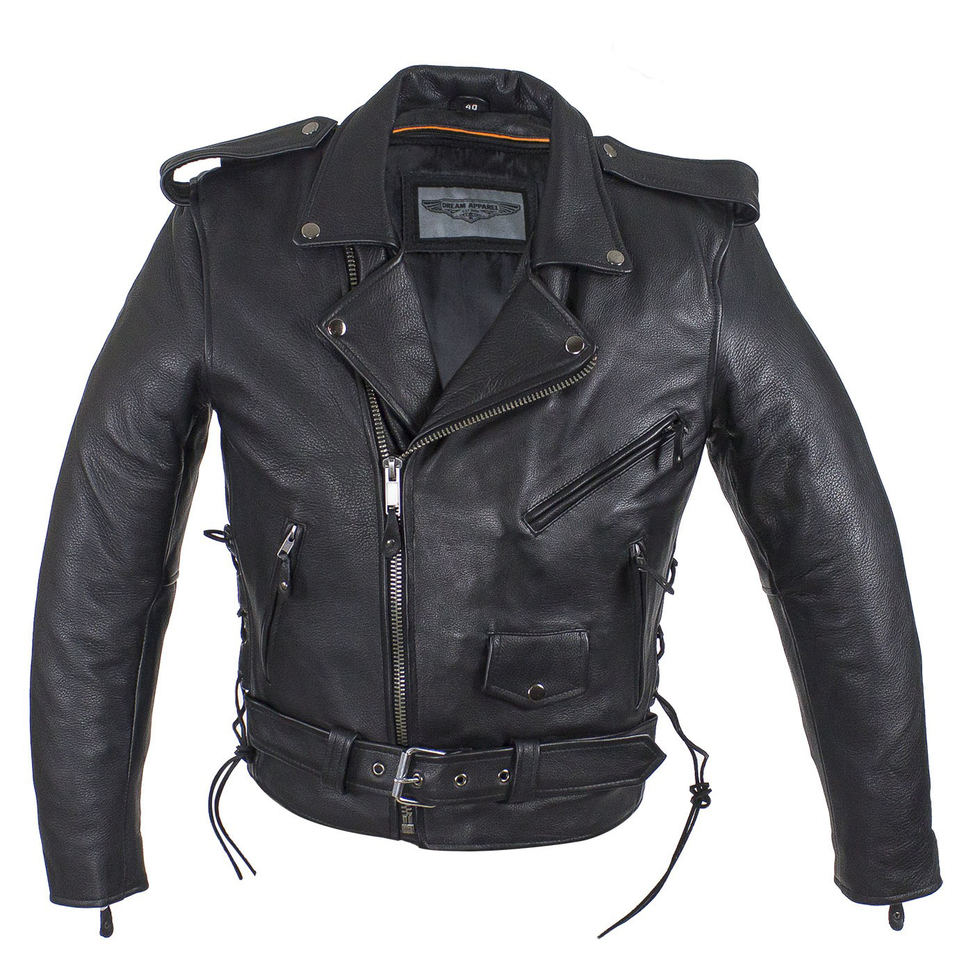 Classic Biker Leather — Mens Distressed Brown Classic