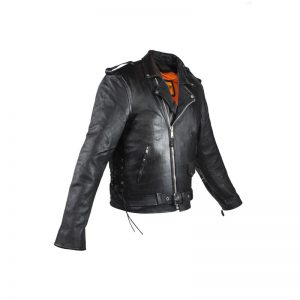 Mens Naked Cowhide Leather Motorcycle Jacket with Side Laces