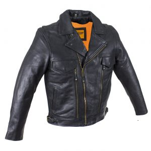 Mens Leather Racing Style Motorcycle Jacket