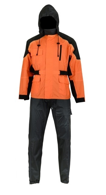 aliexpress excellent quality quite nice Men's Black & Orange Rain Suit with Reflective Piping - BNDS55910R