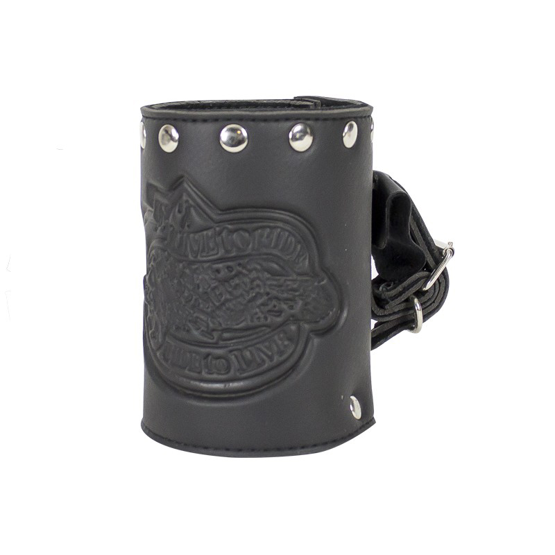Leather Motorcycle Cup Holder With Studs Live To Ride Ride To Live