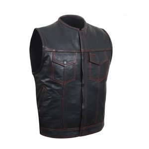 Black Club Vest with Red Stitching