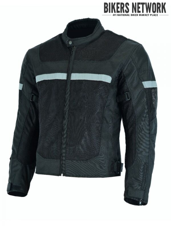 Men's Motorcycle Perforated Textile Reflective Jacket
